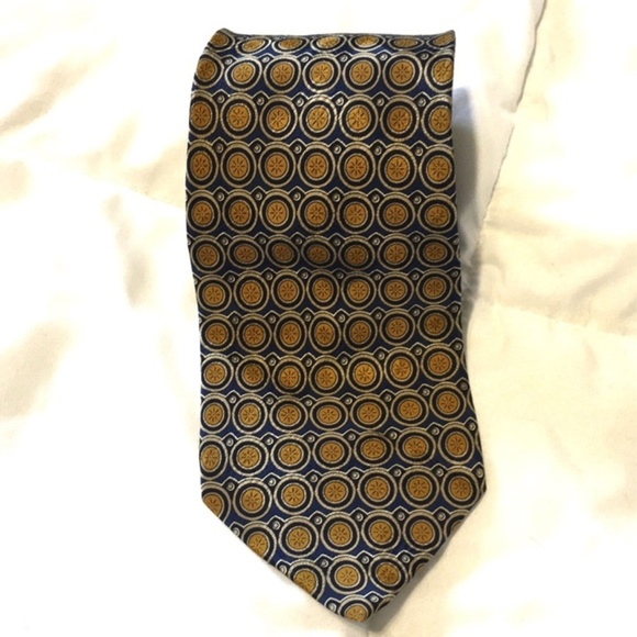 Valentino Other - Valentino 100% Silk Tie Made in Italy Gold Blue